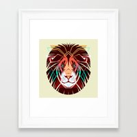 hipster lion Framed Art Prints featuring Lion by Pevuna