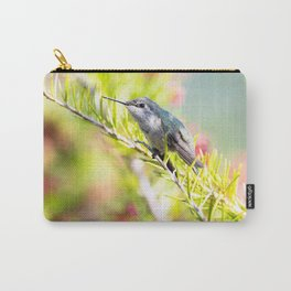 Hummingbird Resting on a Branch Carry-All Pouch