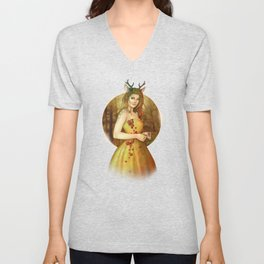 Autumn Woodland Fairy Unisex V-Neck