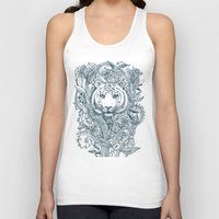 zentangle Tank Tops featuring Tiger Tangle by micklyn