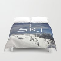 ski Duvet Covers featuring I SKI by BACK to THE ROOTS