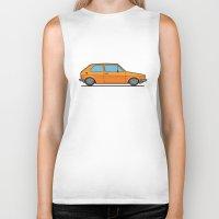 volkswagen Biker Tanks featuring #19 Volkswagen Golf by Brownjames Prints