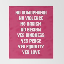 No Homophobia Quote Throw Blanket