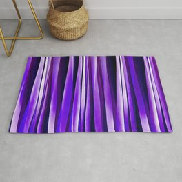 Royal Purple, Lilac and Silver Stripy Pattern Rug