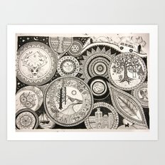 Ink Pen Collage Art Print