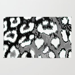 Black and White Leopard Spots Rug