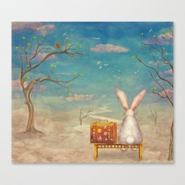 Sad rabbit  with suitcase sitting on the bench on the cloud in sky  Canvas Print