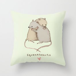 Squeakhearts Throw Pillow