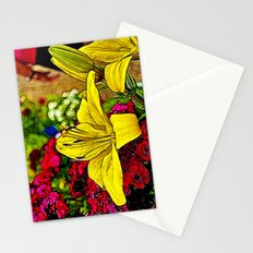 Fractal Yellow Lily Stationery Cards