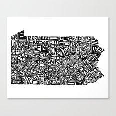 Typographic Pennsylvania Canvas Print