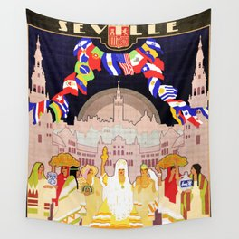 Seville Hispano American Expo 1929 art deco ad Wall Tapestry