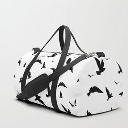 Black pattern of flying birds Duffle Bag