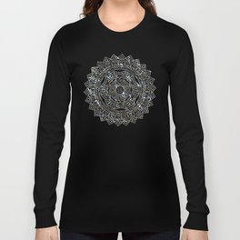 Aztec Mexican Silver Mandala Long Sleeve T-shirt