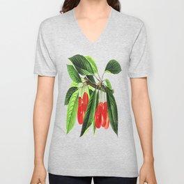 Red Cherries Vector on White Background Unisex V-Neck