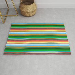 Mexican Serape Horizontal Lines Colorful Pattern  Rug