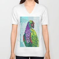 parrot V-neck T-shirts featuring Parrot  by Suburban Bird Designs