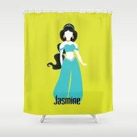 aladdin Shower Curtains featuring Jasmine from Aladdin Disney Princess by Alice Wieckowska
