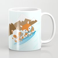 skiing Mugs featuring Skiing by HK Chik