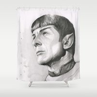 spock Shower Curtains featuring Star Trek Spock Portrait by Olechka