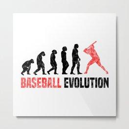 Baseball Evolution T Shirt Softball TShirt Baseball Lover Shirt Evolution-Look Gift Idea Metal Print