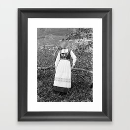 Miss Onion by the bushes. 1915. Framed Art Print