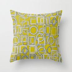picture frames aplenty indigo chartreuse Throw Pillow
