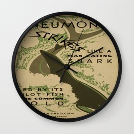Vintage poster - Pneumonia Wall Clock