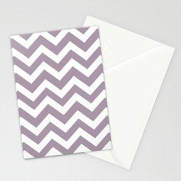 Heliotrope gray - grey color -  Zigzag Chevron Pattern Stationery Cards