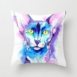 Oriental Cat Watercolor Throw Pillow