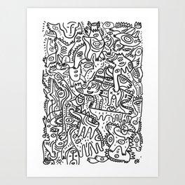 Black and White Graffiti Hand Drawn Ink Marker Animals Party's  Art Print