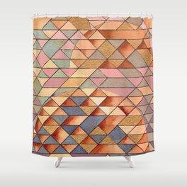 Triangles Circles Golden Sun Shower Curtain