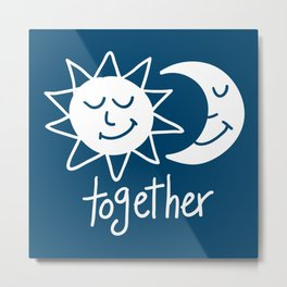 Together cute sun and moon Metal Print