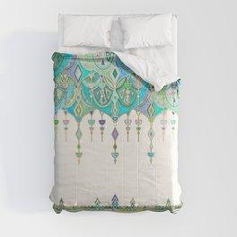 Art Deco Double Drop in Jade and Aquamarine on Cream Comforters