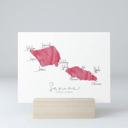 Samoa Labelled Map // Bright Pink Watercolour Mini Art Print
