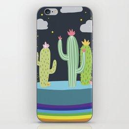Rainbow cactus iPhone Skin