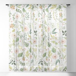 Botanical Spring Flowers Sheer Curtain