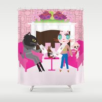 milk Shower Curtains featuring Milk by FASHIONISTA CATS