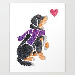 Watercolour Bernese Mountain Dog Art Print