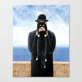 Man with a cat Canvas Print