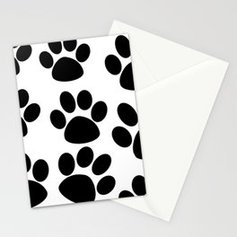 Puppy Paws Black Stationery Cards