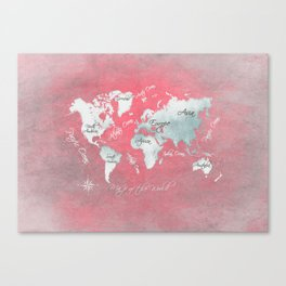 world map 143 red white #worldmap #map Canvas Print