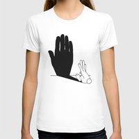 novelty T-shirts featuring Rabbit Talk to the Hand Shadow by Mobii