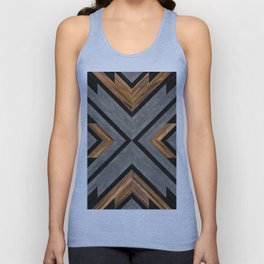 Urban Tribal Pattern 2 - Concrete and Wood Unisex Tank Top