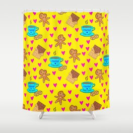 Lovely sweet gingerbread cookies, chocolate bars, cups of hot cocoa, hearts yellow winter pattern Shower Curtain