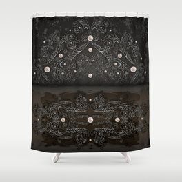 Silver ornament, pearls and grunge texture background Shower Curtain