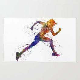 Woman runner jogger running Rug