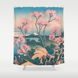 Spring Picnic under Cherry Tree Flowers, with Mount Fuji background Shower Curtain