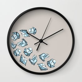 Blue Gems, Raw Stones, Diamond Chunks Wall Clock