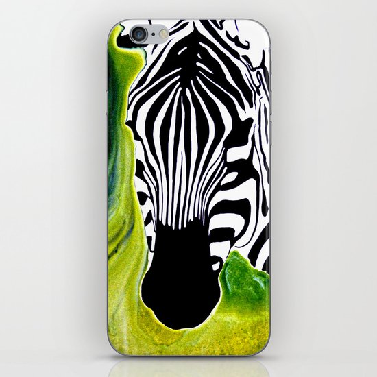 Green Black and White Zebra iPhone & iPod Skin