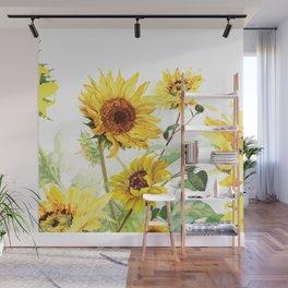 Watercolor Sunflower Wall Mural
